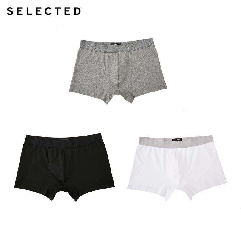 SELECTED Men's Cotton-rich Pure Color 3-pack Knit Boxer Shorts A|419392509