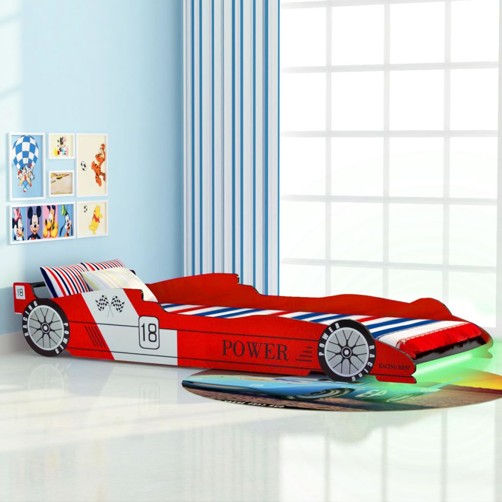 VidaXL Children's LED Race Car Bed 90x200 Cm Red