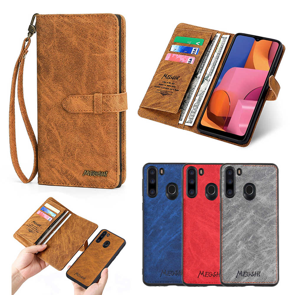 MEGSHI-012 Bisnis 2in1 Kulit Phone Case untuk Samsung Note20 Dompet Back Cover UNTUK Samsung A50 A51 A70 A71 S8 S9 s10 S20