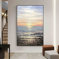 100% handmade Oil Painting abstract seaside stone and blue sky wall art pictures on canvas for living room home decoration