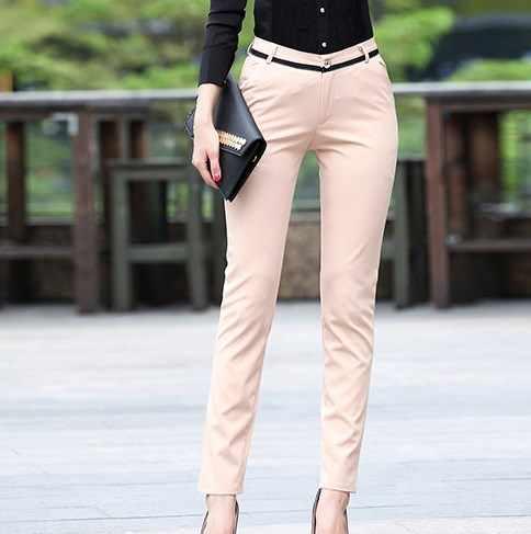 Traje Ajustado De Cintura Alta Para Mujer Pantalones Formales De Oficina Coreanos Color Gris Y Negro 2020 Black Formal Pants Formal Pants For Womanpants For Women Aliexpress