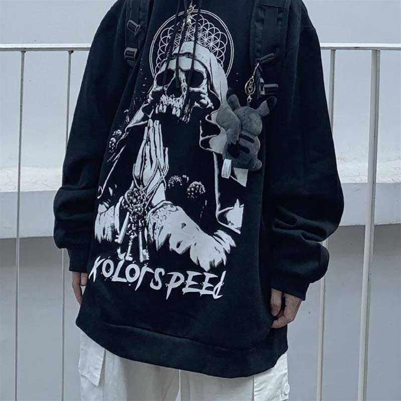 NiceMix gothic Vintage nadruk z czaszką luźne ciepłe bluzy wiosnny streetwear plus aksamitne swetry z kapturem bluza kobiety mężczyźni topy