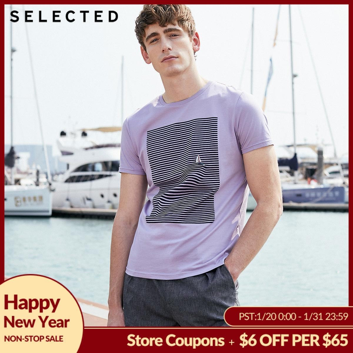 SELECTED Men's Summer 100% Cotton Striped Embroidery Short-sleeved T-shirt S 419201562