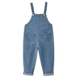 Image 3 - 2020 Spring New Arrival Brief Kids Overalls Pants for Girls Fashion Baby Girls Denim Pants Loose Girls Suspender Pants, #8329