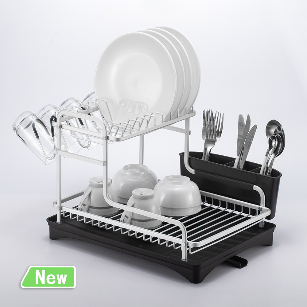 Stainless Aluminim Kitchen Dish Rack Drainer Over Sink Plate Drying Shelf Organizer Accessories Cutlery Dishes Storage Box