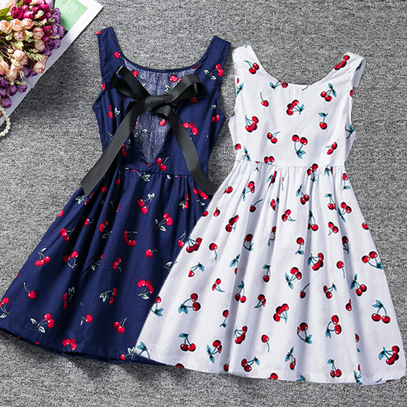 2020 Todder Baby Girl Summer Dress Cherry Printed Tutu Girls Party Dress Sundress Children Boutique Clothing  2 3 4 5 6 Years