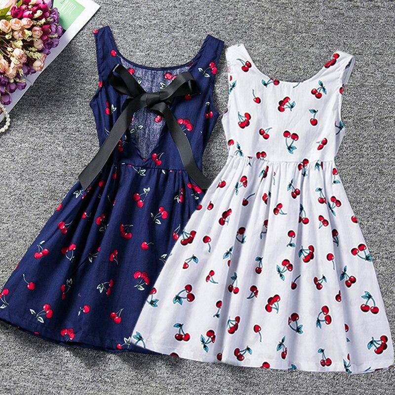 2020 vestido de verano Todder para niña, vestido de fiesta con tutú Estampado de cereza para niñas, vestido de verano para niñas, ropa de Boutique para NIÑOS 2 3 4 5 6 años