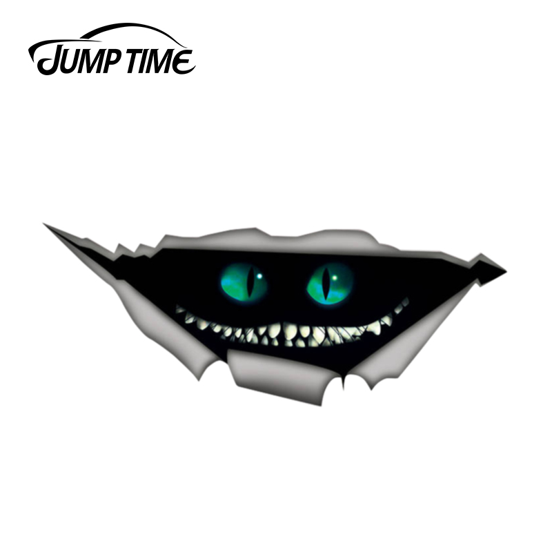 Jump Time 13cm X 5.2cm Cheshire Cat Sticker Torn Metal Decal Wild Animal Funny Car Stickers Window Bumper 3D Car Styling