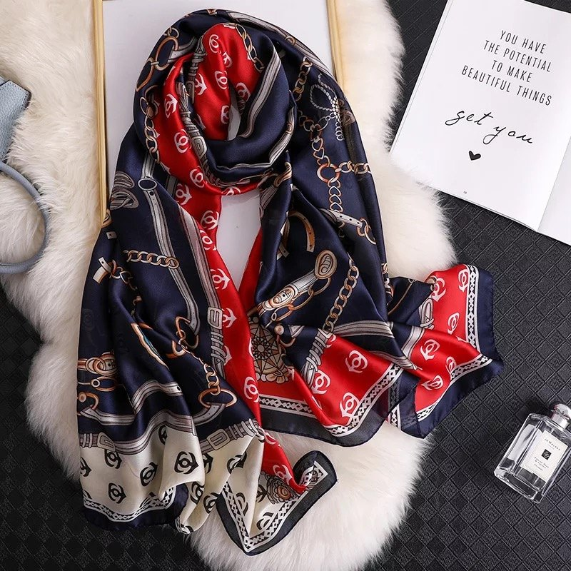 Classic women silk   scarf   female   scarves   ladies beach   wrap   chiffon shawl Printed sunscreen bandanna foulard muffler free shipping