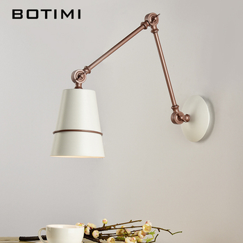 BOTIMI Adjustable Wall Lamp For Reading  White Metal Wall Sconce Bedside Lamps Hotel Indoor Wall Mounted Lighting Fixtures