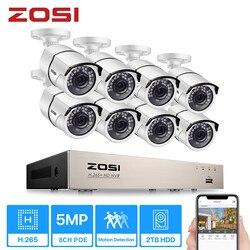 5Мп POE Система видеонаблюдения ZOSI, H.265 + на 8 каналов, c 8* 5Мп IP-камерами наружного видеонаблюдения, водонепроницаемый корпус камер