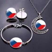 Bracelet Necklace Earrings Jewelry Set Czech Republic Flag Glass Cabochon Stud Earrings Bracelet Moon Necklace for Women Gifts circle moon necklace bracelet earrings with ring set