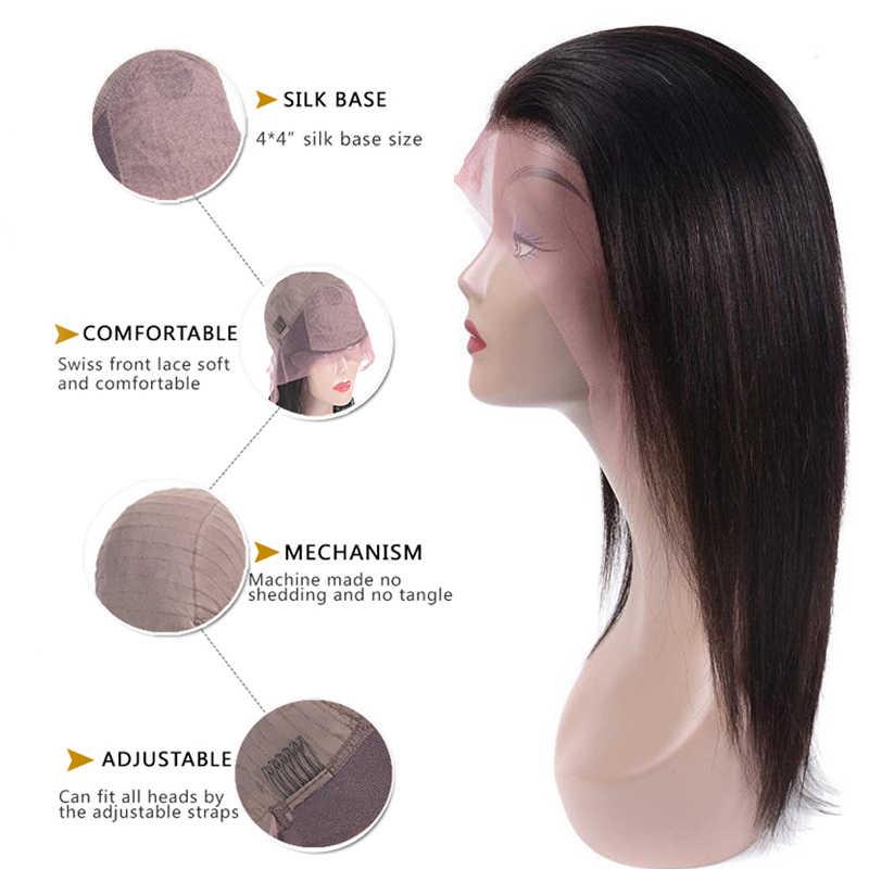 Peruki z jedwabiu bazy brazylijski ludzki włos prosto koronki przodu peruki z ludzkich włosów fałszywe peruki głowy wstępnie oskubane dla czarnych białych kobiet Remy