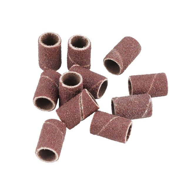CMCP #80 #100 #120 bandes de ponçage pour forets à ongles 6.35mm disques de ponçage de meulage pour Dremel outils abrasifs ensemble de tambours de ponçage