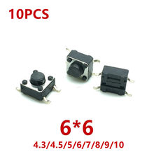 10Pcs 6*6*4.3/4.5/5/6/7/8/9/10(H)mm Panel PCB Momentary Tactile Tact Mini Push Button Switch DIP 4 Pin