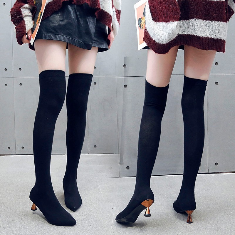 Image 3 - Fashion 2019 Boots Womens Stretch Fabric Pointed Toe Over Knee Boots Ladies Autumn Winter Shoes Casual High Heel Sock BootsOver-the-Knee Boots   -