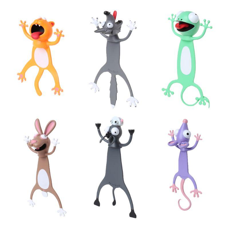 3D Stereo Cartoon Lovely Animal Bookmark Cute Cat Rabbit Funny Student Kids Gift