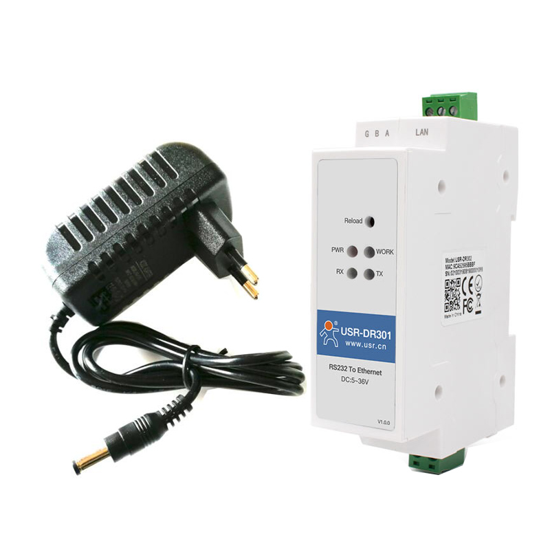 With Power Adaptor USR-DR301 DIN-rail RS232 Serial To Ethernet Converter Modbus RTU To TCP