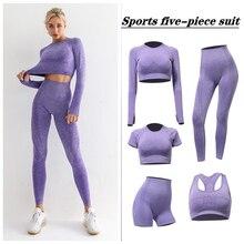 Mulheres sem costura roupas de ginástica de fitness yoga conjunto workout roupas esportivas manga longa colheita superior cintura alta leggings ternos esportivos