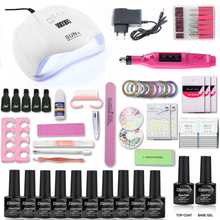 10 Color Nail Gel Varnish Polish Manicure set With UV LED Lamp Electric Nail Drill Machine Manicure tools nail sets