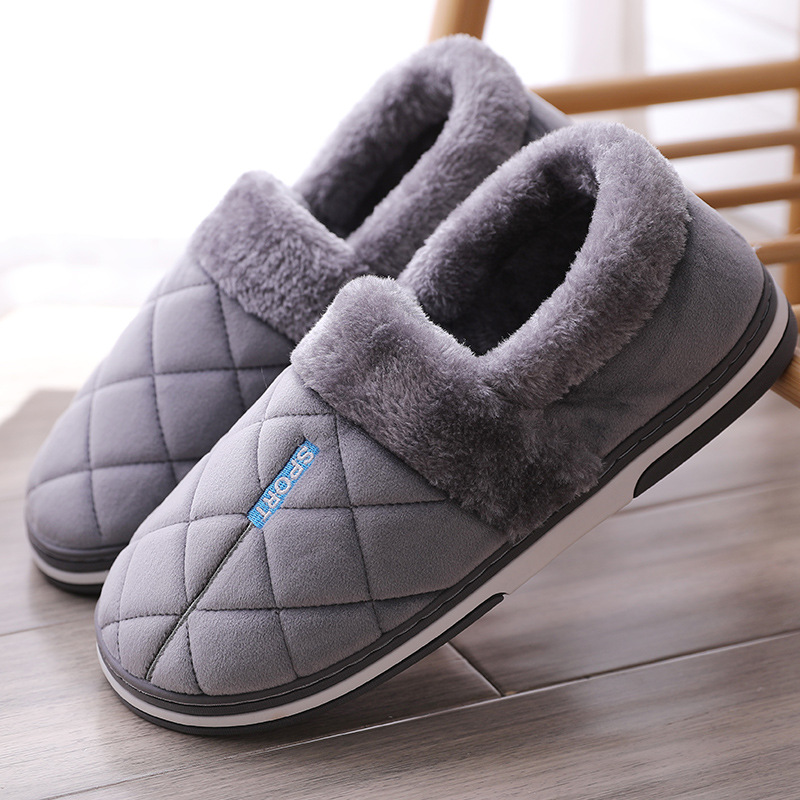 Warm Slippers Men Winter Plus Size 47 Suede Plush Gingham House Shoes Men Memory Foam Home Mens Slippers Soft Antiskid Hot Sale