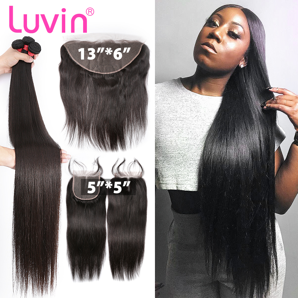 Luvin 28 30 Inch Brazilian Hair Weave Bundles Remy Human Hair Straight 3 4 Bundles With 5x5 13x6 Lace Closure Frontal Pre Pluck