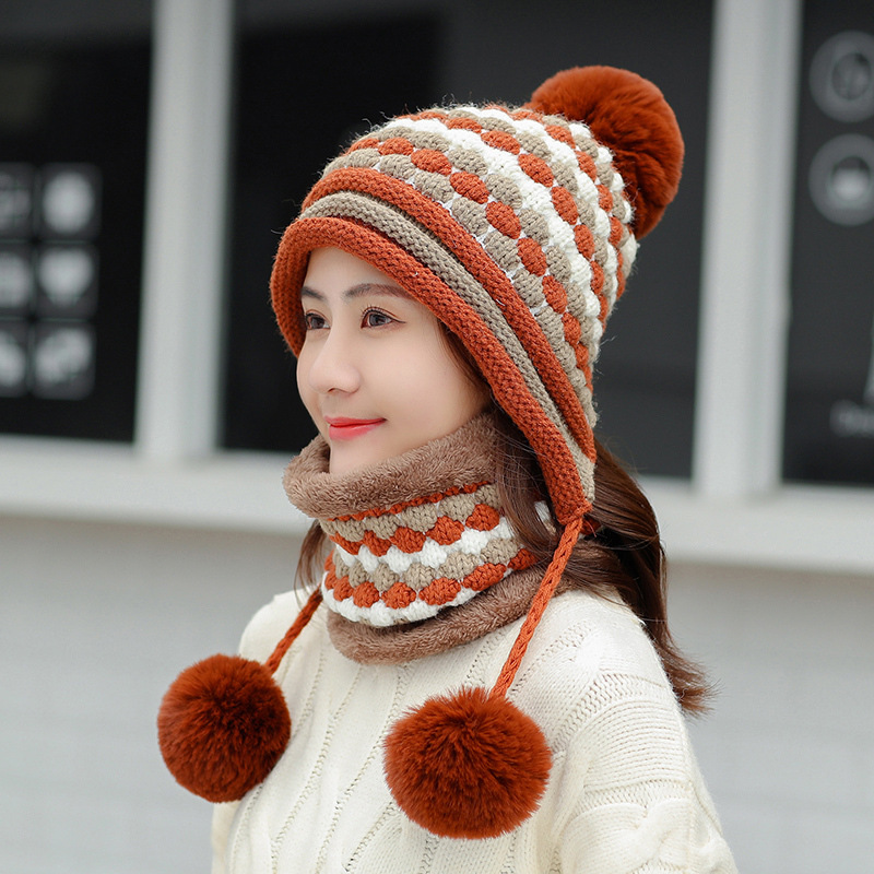 Winter Hats And Scarf Women Thick Warm Skullies Beanie Hat Female Knitted Striped Bonnet Beanie Cap Outdoor Unisex Hat And Scarf