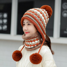 Winter Hats and scarf Women Thick Warm Skullies Beanie Hat Female knitted Striped Bonnet Beanie Cap Outdoor Unisex hat and scarf striped rib knitting warm beanie hat