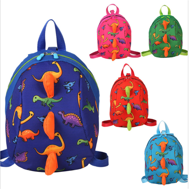 Children's Backpack Cute Print Cartoon Little Dinosaur Anti-lost Children School Bags For Boys Girls Toddler Kids Backpack Gifts