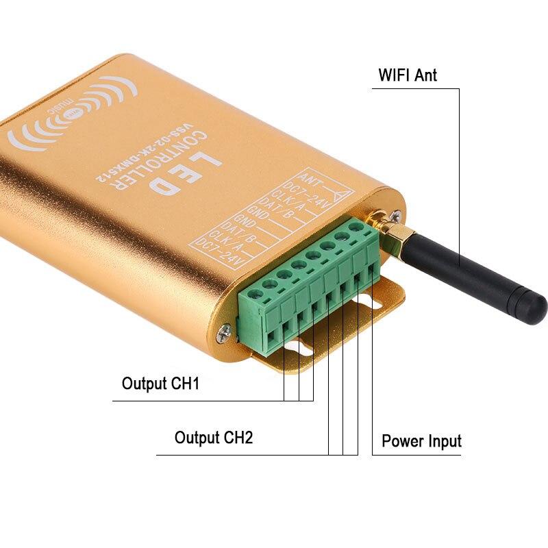 Controlador do spi da conexão de wifi, controlador endereçável de digitas do diodo emissor de luz do pixel 2048, controlador claro da tira da cor do sonho com micphone - 3