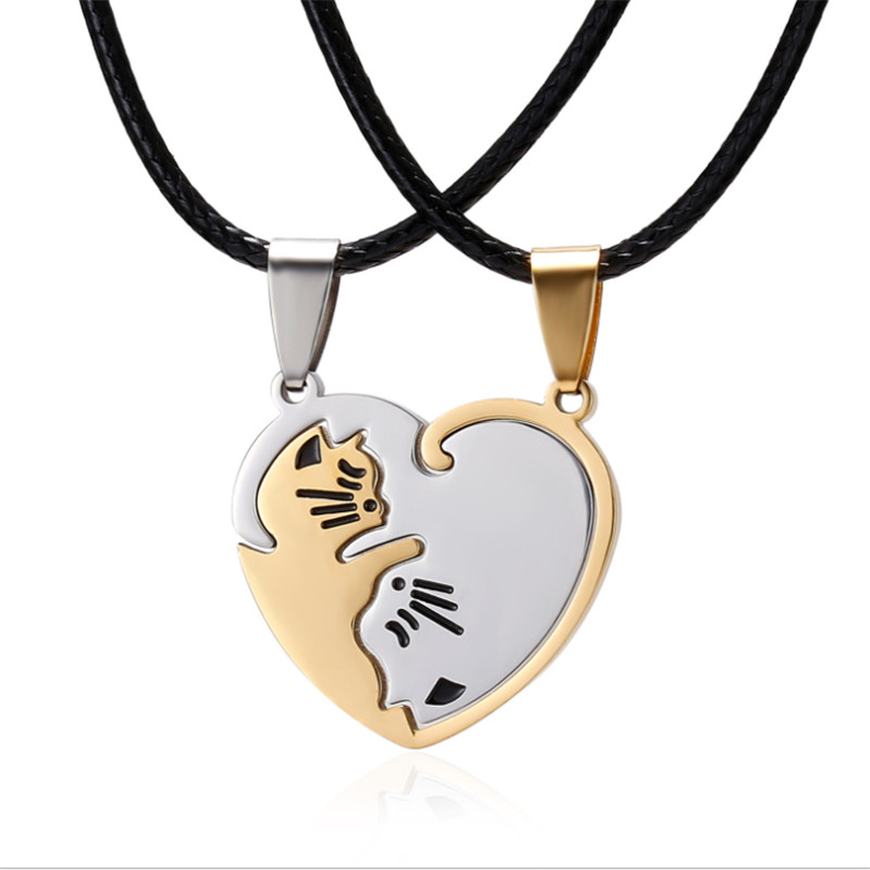 Cute <font><b>Couple</b></font> <font><b>Jewelry</b></font> Gold White Cat Round Animal Pendant Necklace Black And White Cat Stitching Necklace Simple Friendship Gift image