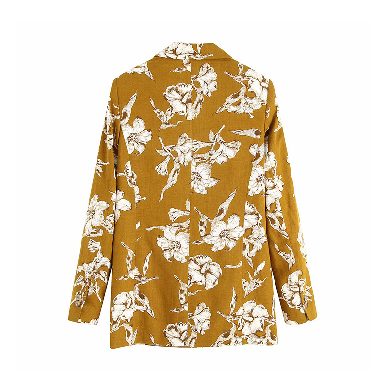 Women Blazers Retro Floral Print Womens Blazers 2019 Autumn Notched Collar Long Sleeve Blazers OL Tide Outerwear Womens Coats