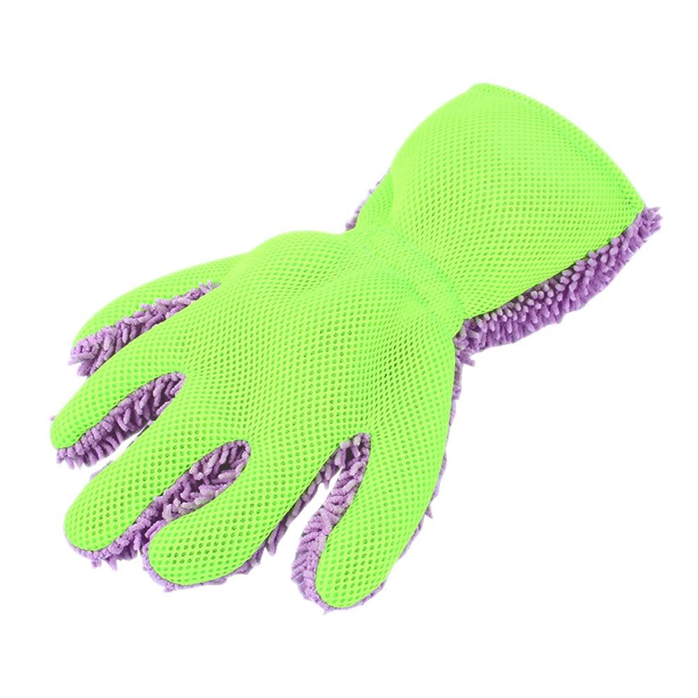 Vehemo пять пальцев коралловый флис Чистка стирка автомобиля перчатки Микрофибра Мыть варежки универсальные принадлежности для полировки - Цвет: Фиолетовый