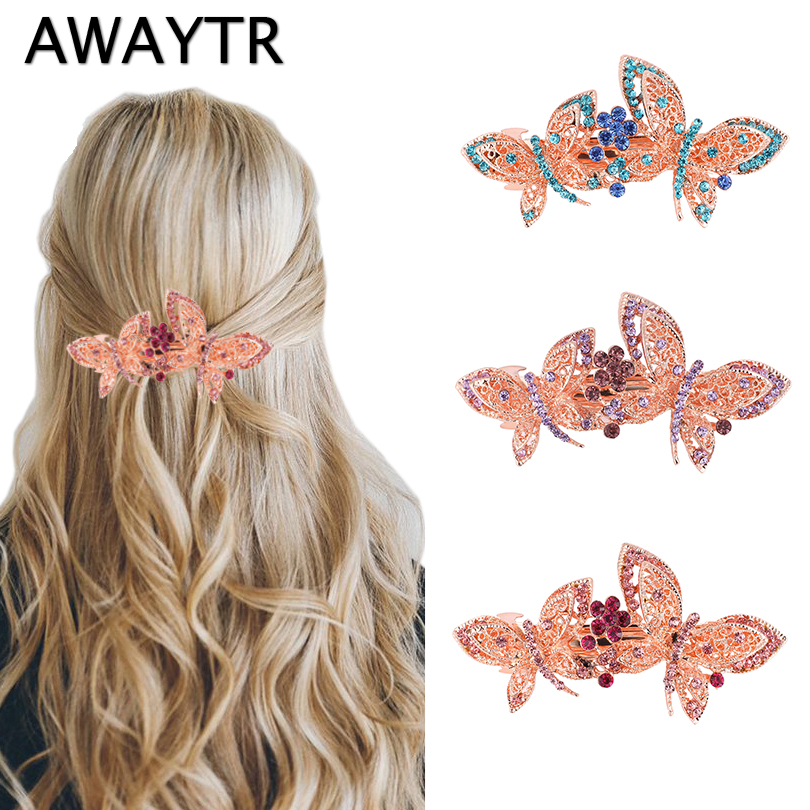 AWAYTR Women Butterfly Metal Crystal Rhinestone Hair Clips Girls Flower Big Barrettes Hairpins Hair Accessories Hairstyle