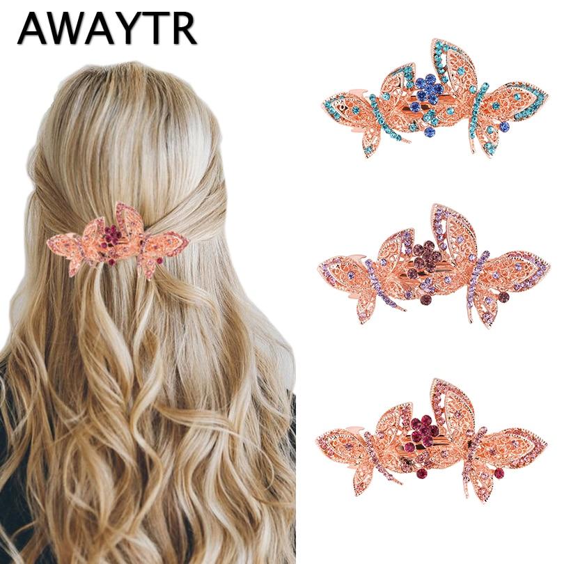 AWAYTR Women Butterfly Metal Crystal Rhinestone Hair Clips Girls Flower Big Barrettes Hairpins Hair Accessories Hairstyle