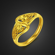 Fashion beautiful flower ring.Women gold plated ring. Real 24 k plating does not change the color of jewelry, free shipping