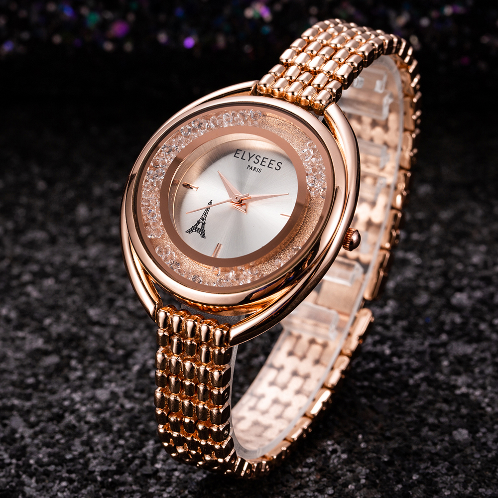 2019 New Women Watches Stylish Lady Rhinestone Dial Top Brand Gold Wristwatch Women Stainless Steel Watchband Clock Montre Homme