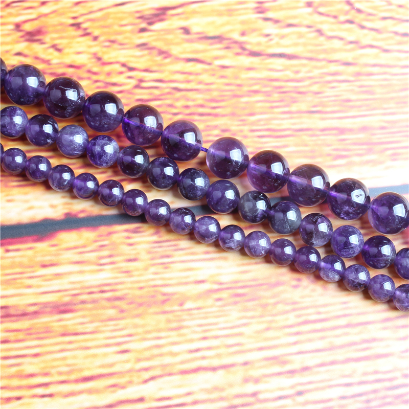 Amethyst Natural Stone Bead Round Loose Spaced Beads 15 Inch Strand 4/6/8 / 10mm For Jewelry Making DIY Bracelet Necklace