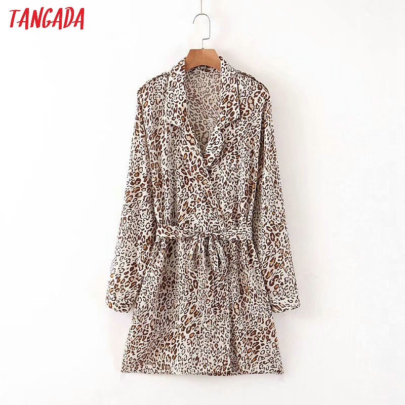 Tangada Fashion Women Leopard Print Cotton Mini Dress Long Sleeve Ladies Vintage Short Dress Vestidos JNA02