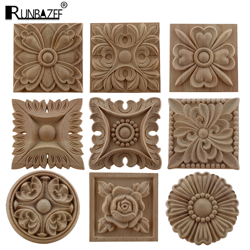 RUNBAZEF European Carved Unpainted Retro Mouldings Wood Applique Wood Decal Long Oval Rubber Home Furniture Walls Hot Sale NEW