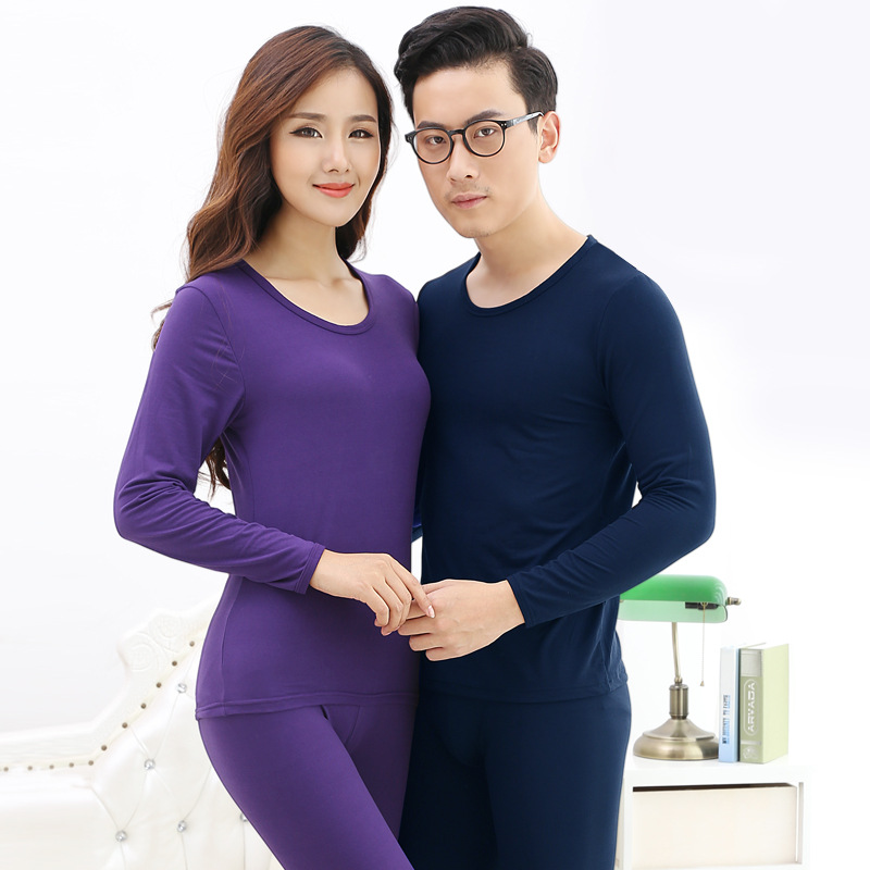 Winter Women/Male Thermal Underwear Sets Solid Color Warm Underwear Long Johns Lover Thermal Size L-4XL Women Clothing