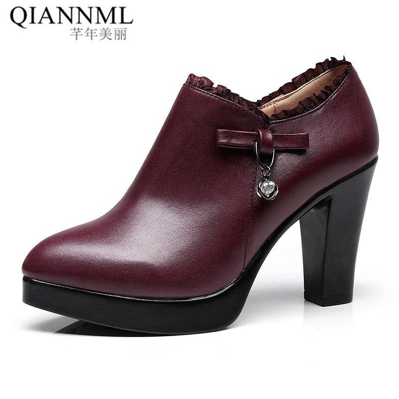 Qiannml Plus Size32 33-43 Women's Deep Mouth Shoes With Heels 2019 Warm Fur Platform Pumps Woman High Heels Office Work Shoes