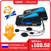 Lexin 2pcs B4FM BT Moto Bluetooth Intercom Headset for 4 Riders FM Radio Universal Pairing Motorcycle Helmet Intercom intercomunicadores de casco moto