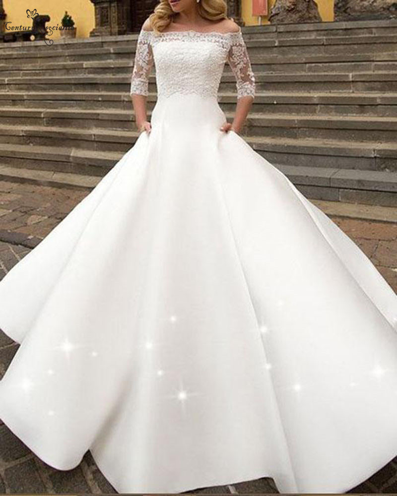 Simple Satin Wedding Dresses With Lace Jacket Pockets 3 4 Long Sleeves Off Shoulder A Line Wedding Gowns Vestido De Noiva Wedding Dresses Aliexpress