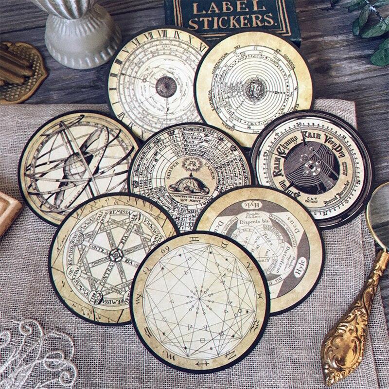 8PCS Junk Journal Vintage Nautical Constellation Checkerboard Sticker DIY Scrapbook Album Diary Happy Plan Decorative Stickers