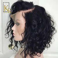 Lockige Spitze Front Menschliches Haar Perücken Für Schwarze Frauen Pre Gezupft Natürlichen Haaransatz Mit Baby Haar Remy Brasilianische Haar Kurze bob Perücke