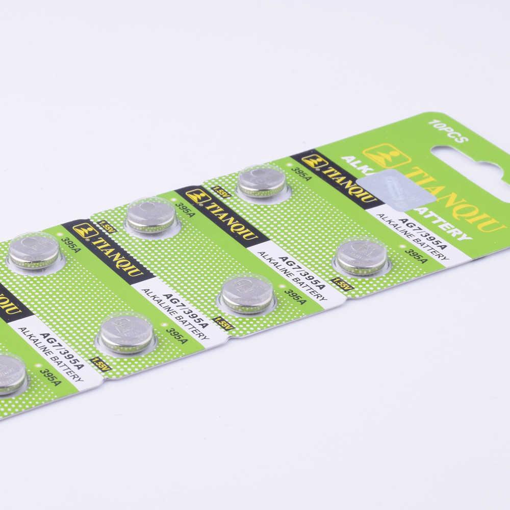YCDC 10 sztuk/partia 1.55V AG7 LR927 LR57 baterie guzikowe 395A komórki monety baterii alkalicznej SR927W 399 GR927 na zegarek zabawki kalkulatory