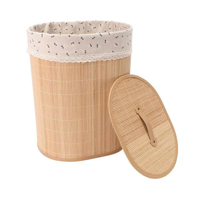 Household Bamboo Laundry Basket Clothes Toy Storage Folding Hamper Sorter Bin Organizer Laundry Hamper Bucket Collapsible Box 4