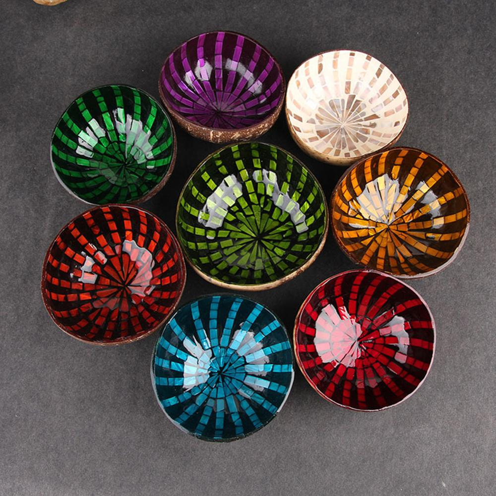 Natural Coconut Bowl Decoration Fruit Salad Noodle Rice Bowl Wooden Fruit Bowl Handicraft Decoration Creative Coconut Shell Bowl