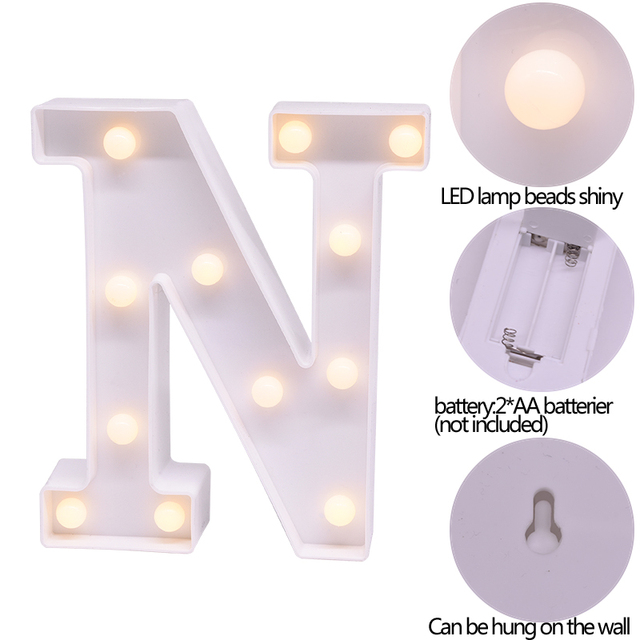 LED English Letter Night Light Alphabet Battery Marquee Sign Number Lamp Indoor Home Culb DIY Wedding Birthday Party Decoration 6